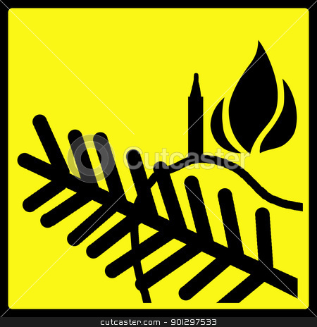 Christmas Light Fire Hazard stock photo, A warning sign, warning against christmas tree light fire hazards  by Tyler Olson