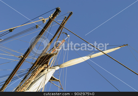 Tall Ship Detail stock photo, Tall ship detail with sky in the background by Tyler Olson