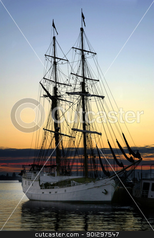 Tall Ship at Sundown stock photo, Tall ship at sundown in the Oslo Fjord, Norway by Tyler Olson