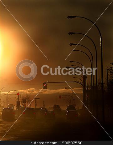 Evening Pollution stock photo, A pollution filled street in saskatoon, saskatchewan, canada by Tyler Olson