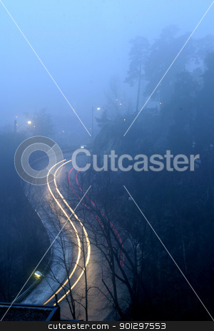 Winding Evening Road stock photo, winding raod in oslo in the evening by Tyler Olson