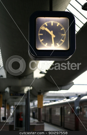 Train Station Clock stock photo, Clock at the train station in Oslo, Norway.  Oslo Sentralstasjon, central station by Tyler Olson