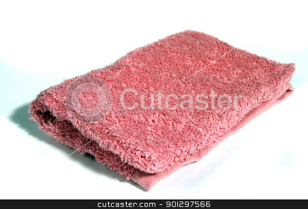 Pink Wash Cloth stock photo, A pink wash cloth isolated on white by Tyler Olson