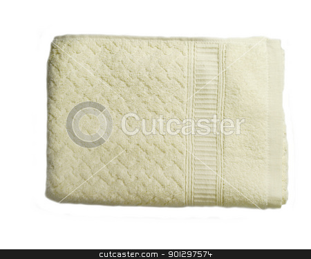 White Bathroom Towel stock photo, A white towel isolated on white viewed from above by Tyler Olson