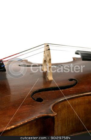 Cello Detail stock photo, A cello isolated on white. by Tyler Olson