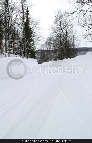 Winter Road stock photo, Winter road with LOTS of snow by Tyler Olson