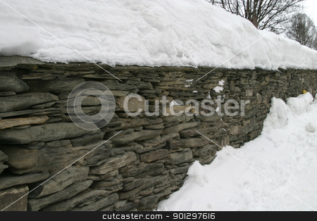Rock Wall stock photo, Rock Wall in Winter by Tyler Olson