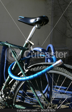 Bike Detail stock photo, Bike detail with lock and wheel by Tyler Olson