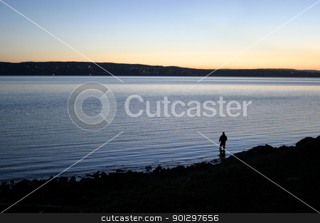 Evening Fishing stock photo, Fishing on the oslo fjord in the evening. by Tyler Olson