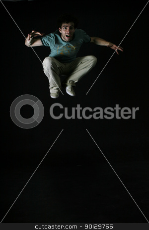 Startled Man stock photo, A startled man jumping by Tyler Olson