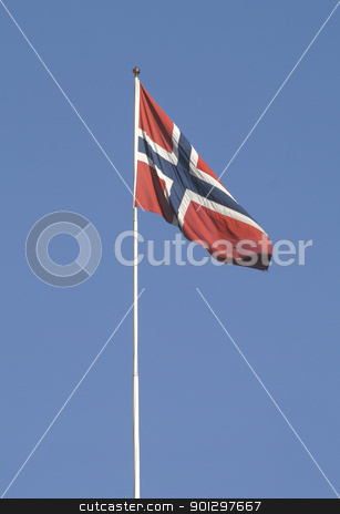 Norwegian Flag stock photo, norwegian flag on a flag pole by Tyler Olson