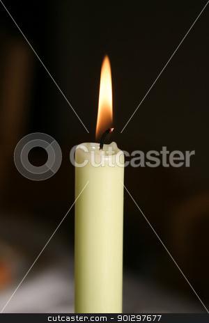 Burning Candle stock photo, white burning candle by Tyler Olson