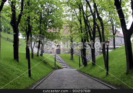 Cobblestone Road stock photo, An old cobblestone road road at akershus festning, Oslo Norway by Tyler Olson
