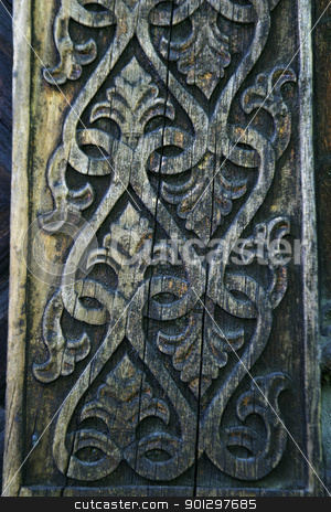 Traditional Carving Detail stock photo, Carving Detail on an old norwegian building by Tyler Olson