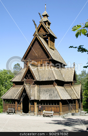 Stave Church stock photo, Stavkirke (stave church) located at the folk museum in Oslo, Norway.  The Norwegian Stave Churches are some of the oldest wooden structures in the world. by Tyler Olson