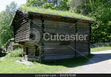 Old Norwegian Grainery stock photo, Grainery at the folk museum in Oslo, Norway by Tyler Olson