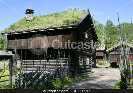 Old Norwegian Farm House stock photo, Old farm building at the folk museum in Oslo, Norway by Tyler Olson