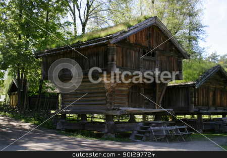 Norwegian Farm House stock photo, Norwegian farm house at the folk museum in Oslo Norway by Tyler Olson