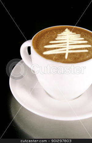 Christmas Tree Coffee stock photo, A cappuccino with a christmas tree in latte art by Tyler Olson