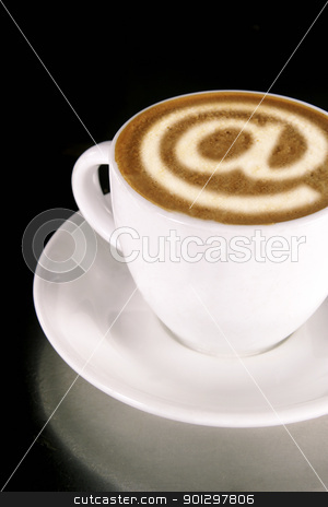 Internet Cafe stock photo, A cappucino with latte art at symbol by Tyler Olson