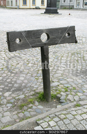 stocks stock photo, A set of stocks in the old town of Fredriktad by Tyler Olson