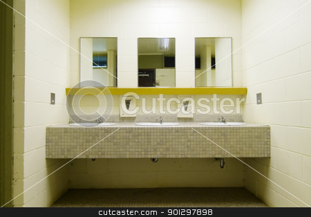 Public Washroom stock photo, Sinks and mirrors in a public bathroom by Tyler Olson