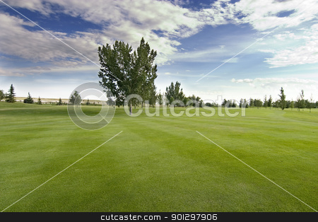 Saskatchewan Golf stock photo, Saskatchewan golf course with vivid blue sky by Tyler Olson