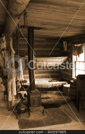 Trading Post stock photo, Trading post at the Cypress Hills Provincial Park in sepia tone by Tyler Olson