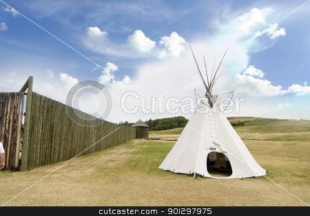 Tepee Detail stock photo, Tepee detail at the Cypress Hills Provincial Park by Tyler Olson