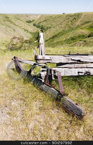 Old Sled stock photo, The remains of an old sled on the prairie by Tyler Olson