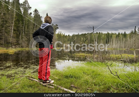 Marsh stock photo, Dead trees and other living things in a marsh near Oslo, Norway with a person overlooking the water by Tyler Olson