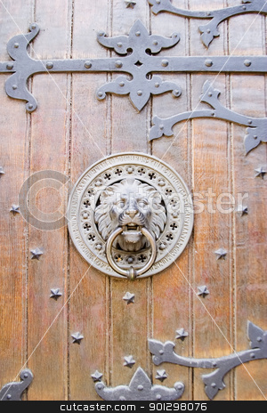 Door Knocker stock photo, Lion door knocker on a church in Oslo, Norway by Tyler Olson