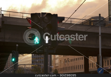 Walk Light stock photo, Walk light at dusk by Tyler Olson