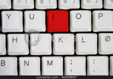 Computer Keyboard Letter I stock photo, Isolated letter I on from a computer desktop keyboard highlighted in green  by Tyler Olson