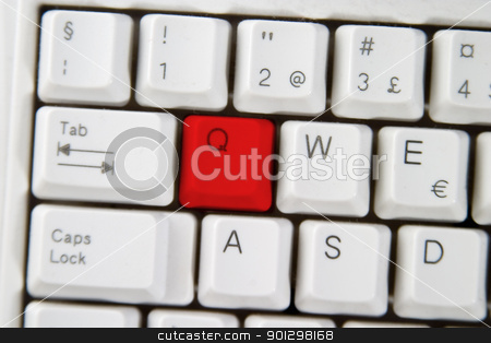 Computer Keyboard Letter Q stock photo, Isolated letter Q on from a computer desktop keyboard. by Tyler Olson