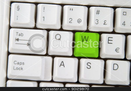 Computer Keyboard Letter W stock photo, Isolated letter W on from a computer desktop keyboard highlighted in green by Tyler Olson