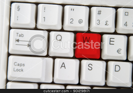 Computer Keyboard Letter W stock photo, Isolated letter W on from a computer desktop keyboard highlighted in RED by Tyler Olson