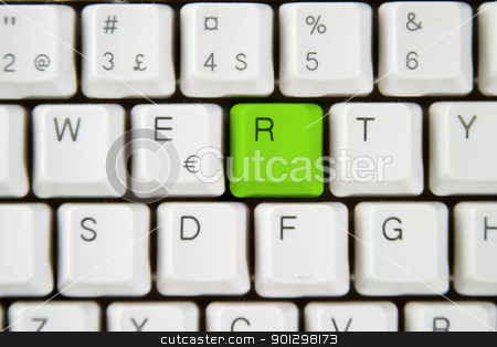 Computer Keyboard Letter R stock photo, Isolated letter R on from a computer desktop keyboard highlighted in green by Tyler Olson