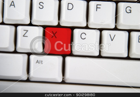 Computer Keyboard Letter X stock photo, Isolated letter X on from a computer desktop keyboard highlighted in red by Tyler Olson