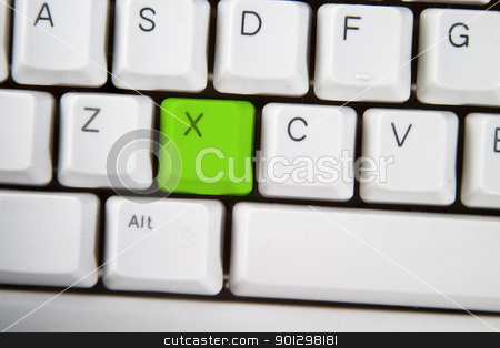 Computer Keyboard Letter X stock photo, Isolated letter X on from a computer desktop keyboard highlighted in green by Tyler Olson