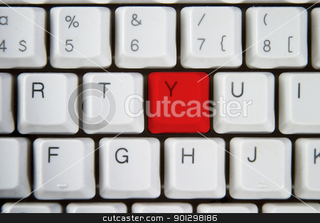 Red Y stock photo, Isolated letter Y on from a computer desktop keyboard highlighted in red. by Tyler Olson