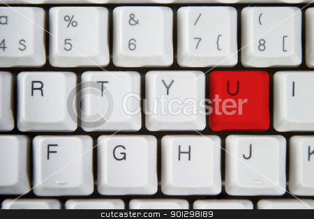 Red U stock photo, Isolated letter U on from a computer desktop keyboard highlighted in red by Tyler Olson