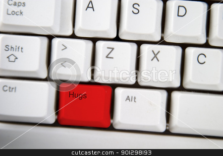 Hug Key stock photo, computer keyboard key with the word hug on it highlighted in red by Tyler Olson