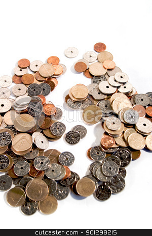 Pile of Coins stock photo, Pile of coins from Norway with dollar sign showing through the middle of the pile by Tyler Olson