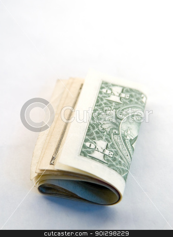 American One Dollar Bills stock photo, Fold of American one dollar bills. by Tyler Olson