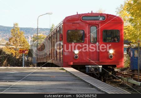 Oslo Subway stock photo, Oslo subway car arriving at Rislokka station. by Tyler Olson