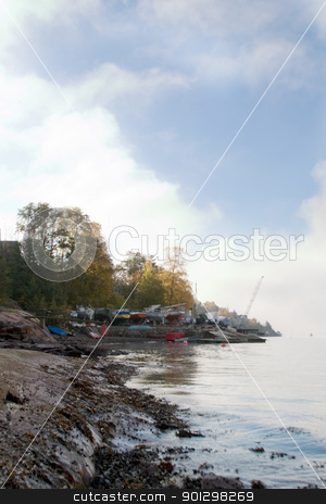 Fjord Coast stock photo, Fjord cost on a foggy day by Tyler Olson