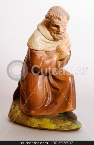 Joseph Nativity Character stock photo, Joseph christmas figurine from a very old nativity set. by Tyler Olson