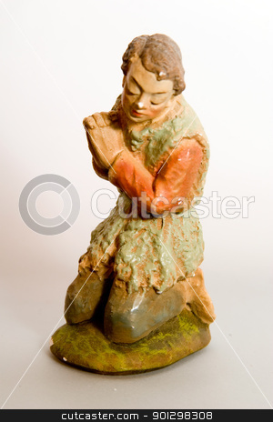 Shepher Nativity Character stock photo, Shepherd christmas figurine from a very old nativity set. by Tyler Olson
