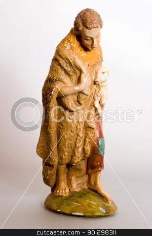 Shepherd Nativity Character stock photo, An antique shepherd nativity character. by Tyler Olson